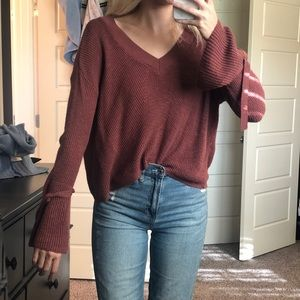Express Cropped Bell Sleeve Maroon Sweater - SZ M